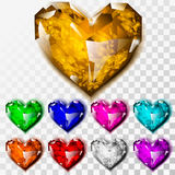Realistiska Diamond Hearts Set Arkivbild