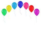 Realistiska färgrika ballonger bakgrund, ferier, hälsningar, bröllop, lycklig födelsedag som festar på en vit bakgrund Royaltyfria Bilder