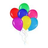 Realistiska färgrika ballonger samlar ihop bakgrund, ferier, hälsningar, bröllop, den lyckliga födelsedagen som festar Royaltyfri Bild