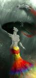 Realistiska/för abstrakt begrepp härliga sjöjungfruar med färgrika svansar och lång hårsimning i vatten Arkivbilder