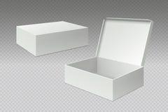 Realistiska förpackande askar Öppen åtlöje upp den tomma packen, vit fyrkantig pappers- papp Tom mall för lådapackevektor royaltyfri illustrationer