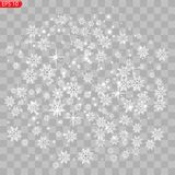 Realistiska fallande snöflingor som isoleras på genomskinlig bakgrund royaltyfri illustrationer