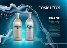 Realistiska flaskor för schampo och för tvål Illustration för modell 3D Kosmetisk packeannonsmall Moussera för vatteneffekt Royaltyfri Bild
