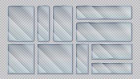 Realistiska genomskinliga baner Ramar för fönsterexponeringsglas med ilsken blickreflexionseffekt, akryl isolerade skärmar glansi stock illustrationer