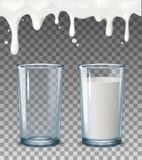 Realistiska genomskinliga exponeringsglas, att hälla mjölkar färgstänk, mycket och tomt exponeringsglas, genomblöta flytandedropp Arkivfoton