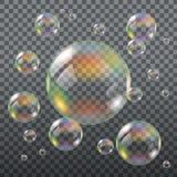 Realistiska genomskinliga såpbubblor Royaltyfria Bilder