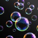 Realistiska genomskinliga såpbubblor Fotografering för Bildbyråer