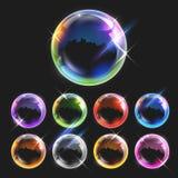 Realistiska genomskinliga såpbubblor Arkivbild