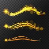 Realistiska glänsande stjärnor, blänker och glöd av stjärnorna Flyga slingan av magiskt glöd för mousserande stjärnor också vekto Royaltyfria Bilder
