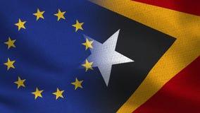 Realistiska halvaflaggor för EU och Östtimor tillsammans royaltyfri illustrationer