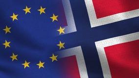Realistiska halvaflaggor för EU och Norge tillsammans stock illustrationer