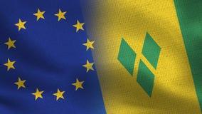 Realistiska halvaflaggor för EU och Saint Vincent och Grenadinerna tillsammans vektor illustrationer