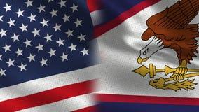 Realistiska halvaflaggor för USA och American Samoa tillsammans royaltyfri illustrationer