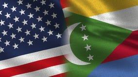 Realistiska halvaflaggor för USA och Comoros tillsammans stock illustrationer