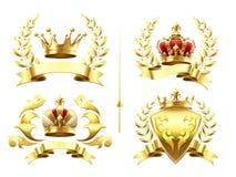 Realistiska heraldiska emblem Gradbeteckningen med den guld- kronan, den guld- kröna medaljen och emblemet med kunglig person krö stock illustrationer