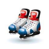 Realistiska ishockeyskridskor, på vit Fotografering för Bildbyråer