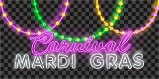 Realistiska isolerade pärlor för vektor för Mardi Gras för garnering och täcka på den genomskinliga bakgrunden Begrepp av lycklig vektor illustrationer