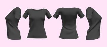 Realistiska kvinnors svarta t-skjorta med den korta muffmodellupps?ttningen Framdel-, baksida- och sidosiktsmodell Isolerad vekto stock illustrationer