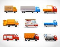 Realistiska lastbilsymboler Royaltyfri Bild