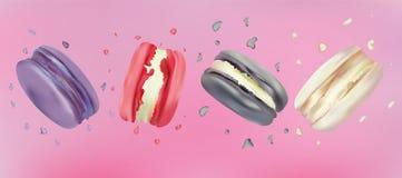 realistiska makron 3d i rosa bakgrund Fastställd färgrik fransman som är söt i rörelse Differend franska makron falla royaltyfri illustrationer