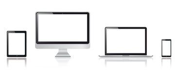 Realistiska minnestavla-, smartphone-, bildskärm- och minnestavladatordiagram Fotografering för Bildbyråer