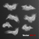 Realistiska moln för vektor av dimma, ogenomskinlighet Spökestilbeståndsdelar Arkivfoto