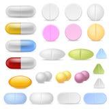 Realistiska pillersymboler Vitaminer för antibiotikummar för smärtstillande medel för droger för medicinminnestavlakapslar F stock illustrationer
