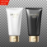 Realistiska plast- rör för kosmetiska produkter Skönhetuppsättning av tomma mallbehållare för: stelna av skincare, handomsorg Arkivfoto