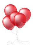 Realistiska röda ballonger Arkivbild