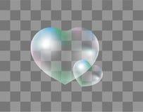 Realistiska såpbubblor Hjärta-formade realistiskt, stil 3d isolerat på en genomskinlig bakgrund Droppar av vatten i en hjärta royaltyfri illustrationer