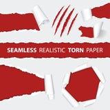 Realistiska sömlösa sönderrivna pappers- och skrapajordluckrare Arkivfoto