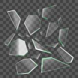 Realistiska skärvor av brutet exponeringsglas vektor stock illustrationer