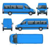 Realistiska Skåpbil mall i översikt Isolerad mini- buss för passagerare för företags identitet och advertizing stock illustrationer
