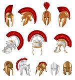 Realistiska Spartan Ancient Greek, romersk hjälm Skyddande silver och brons stock illustrationer