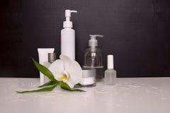 Realistiska tomma rör för skönhetsmedel Ställ in med den kosmetiska lilla medicinflaskan, flaska kräm- rör Arkivbild