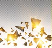 Realistiska trianglar och ljusa effekter växt för effekt 3d… leaves för green rörelse av flygtrianglar också vektor för coreldraw Royaltyfria Bilder