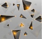 Realistiska trianglar och ljusa effekter växt för effekt 3d… leaves för green rörelse av flygtrianglar också vektor för coreldraw Royaltyfri Bild