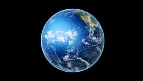 Realistiska världskartasjalar till jordklotet (svart bg) royaltyfri illustrationer