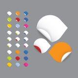 Realistiska vektorklistermärkear - pilar Colorfully mellanrum rullande stic Stock Illustrationer