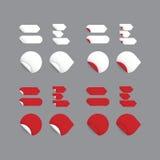 Realistiska vektorklistermärkear - röd samling. Modern design, mellanrum Royaltyfri Illustrationer