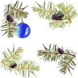 Realistiska visare, gran förgrena sig julgranen, isolerat detaljerat, ramen av granfilialer, mallen för designen, bula, stock illustrationer