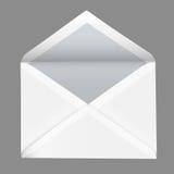 Realistiskt öppet vitt kuvert för vektor som isoleras på grå bakgrund Arkivfoto