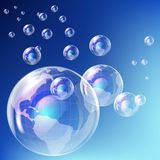 realistiskt bubblajordjordklot Stock Illustrationer