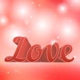 Realistiskt förälskelsetecken för rosa färger 3d Typografikort Arkivbild