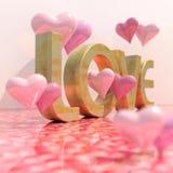 Realistiskt förälskelsetecken med hjärtor Arkivfoto