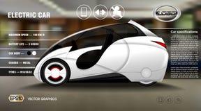 Realistiskt för informationsdiagram om elbil 3d begrepp Affisch för Digital vektorelbil med symboler Arkivfoton