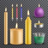 Realistiskt flamma och ljus, brännande stearinljusuppsättning vektor illustrationer