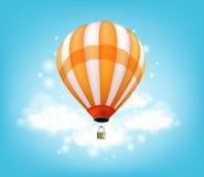 Realistiskt färgrikt flyg för bakgrund för ballong för varm luft Arkivbilder
