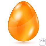 Realistiskt guld- easter ägg på vit bakgrund Vektorillustra Arkivfoton