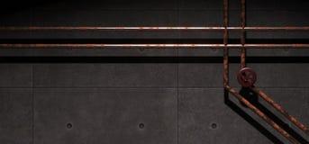 Realistiskt konkret industriellt rum med rostade metallrör Arkivfoto